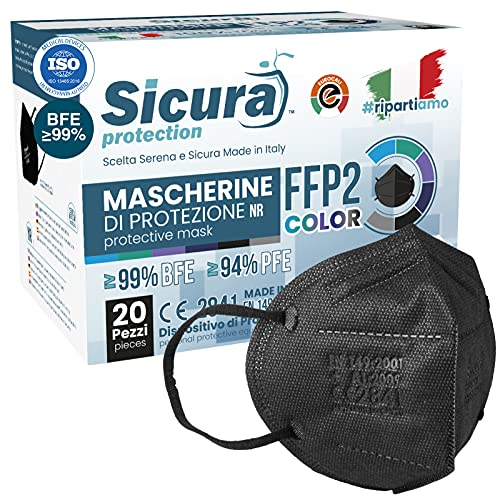 20 Mascherine FFP2 Certificate CE Nere Made in Italy con Elastici Neri logo SICURA impresso BFE ≥99% Mascherina ffp2 italiana SANIFICATA e sigillata. Pluri certificata ISO 13485 e ISO 9001