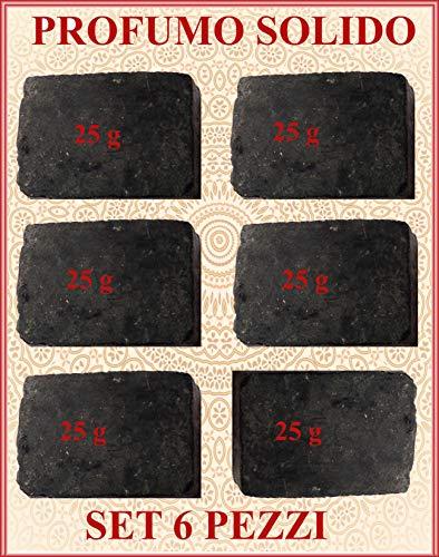 6 x Profumo Solido all' Ambra Grigia con note di Sandalo e Patchouli 25 g cad x 6 pz