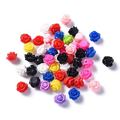 50 ciondoli a forma di rosa in resina, 9 x 7 mm, con retro piatto, per creare gioielli fai da te