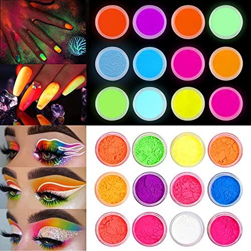 EBANKU 24 Colori Polvere Fluorescente Effetto Fluorescente Polvere Luminosa Nail Art per Unghie Pigmenti per Unghie Polvere per Unghie Glitter Gradiente Iridescente Decorazioni per Unghie