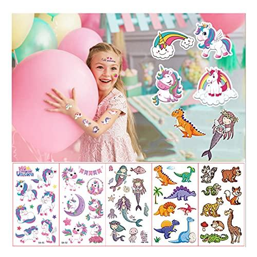 YANGJI 40 Fogli Tatuaggi per Bambini, Tatuaggi temporanei,Inclusi Unicorno e Animale e dinosauro e Sirena, per Ragazze Ragazzi Tatuaggio Temporaneo Giocattoli per Feste di Compleanno.