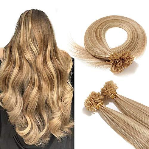 Rich Choices 50cm Extension Capelli Veri Cheratina 100 Ciocche Remy Hair Extension Keratina Capelli Lisci Naturali 0.5g/ciocca Pesa 50g, 12P613 Marrone Dorato & Biondo Sbiancante