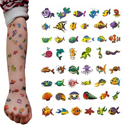 Oblique-Unique® Set di tatuaggi per bambini, 48 pezzi, diversi motivi per giocare