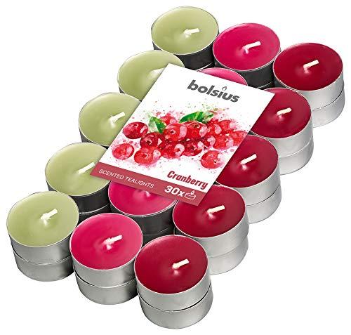 Bolsius 30 Tealights +/-4h, 3 Colori, Fragranza Mirtillo