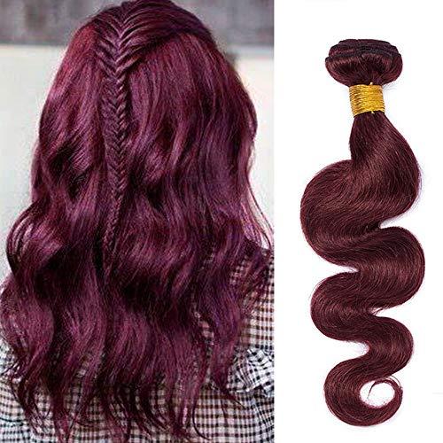 60cm Extension Capelli Veri Tessitura Vino Rosso 99J# Brasiliani Ondulati Cucitura 1 Ciocca Remy Human Hair Bundles Weft Weave Matassa, 100g