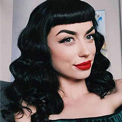 Parrucca lunga e ondulata vintage rockabilly, stile Audrey Hepbum con frangetta corta, per donne (nero) + cuffia in omaggio