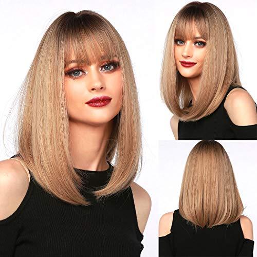 TANTAKO® Parrucca bionda Ombre corta Parrucca sintetica Bob corto dritto Parrucca bionda Ombre per donna (Ombre Blonde#344)