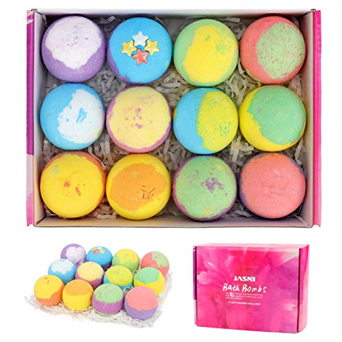 Set regalo 12 bombe da bagno,kit bomba da bagno naturale con per idratare la pelle secca, perfetto per frizzanti bomba termale, migliori idee regalo per donne, mamma, ragazze, adolescenti, lei