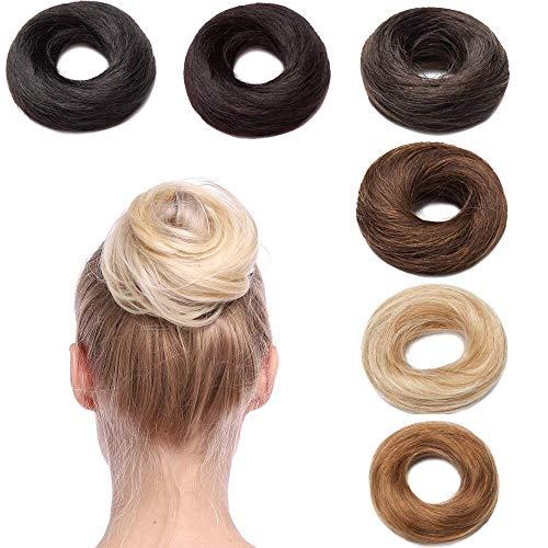 Extension Chignon Capelli Veri Elastico Facile per Capelli Umani Remy Human Hair Ciambella Lisci Voluminosi Messy Updo Bun Coda di Cavallo Donna, 2 Marrone Scuro