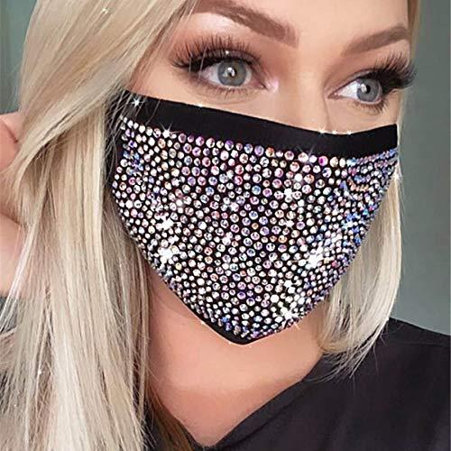 IYOU Cristallo glitterato Copertura della bocca Maschere per il viso nere riutilizzabili Gioielli per la decorazione della copertura del viso in maschera con strass Bling per donne e ragazze