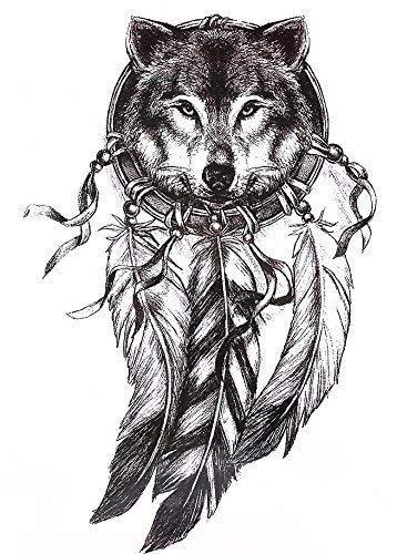 Tatuaggio trasferibile con lupo e acchiappasogni, per braccia, corpo, spalle, schiena, gamba, colore: nero (HB577)