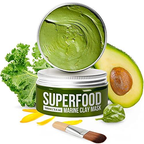 Maschera Viso Superfood Purificante e Idratante 100% VEGAN - Maschera all' Argilla Del Mar Morto Con Superfoods 100 ml - Face Mask Scrub – Deterge e Restringe i Pori - Dermatologicamente testato