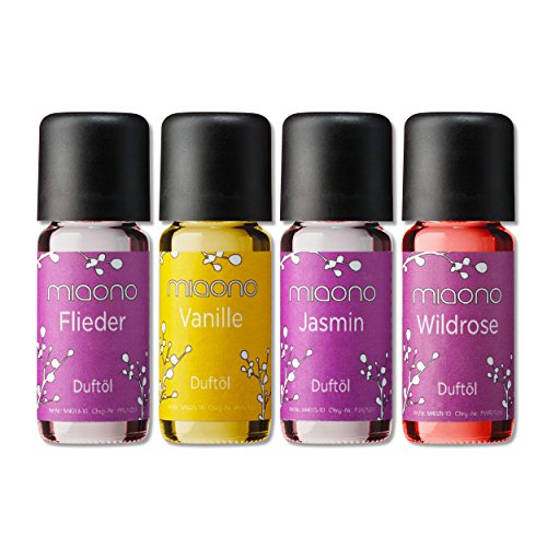 Olio Profumato Set–Romanticismo–Lilla, Vaniglia, gelsomino, Wild Rose–aromaoel per Fragranza lampada e diffusore di miaono