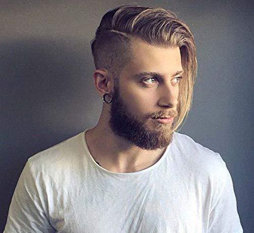 STfantasy Ash Blonde Men's Wigs Short Layayer Side Parte sintetica Parrucca Sintetica per Men Men Men Daily Usato Cosplay Party Costume Halloween Uomo Parrucca
