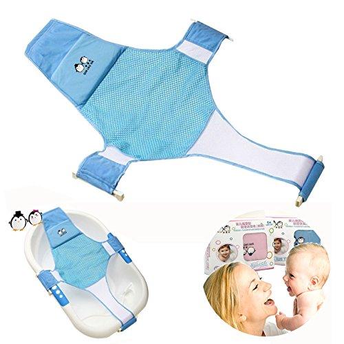 Proca - Supporto a sedile con fasce in rete per vasca da bagno per neonati, colore: Blu