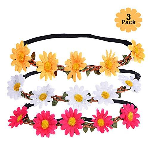 Xcozu - Fascia per capelli a forma di margherita, adatta per fotografie, viaggi e matrimoni, fascia per capelli, fascia per capelli, fascia per capelli, 3 colori