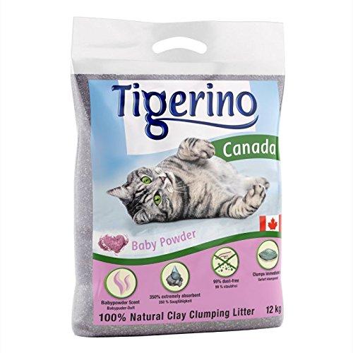 Tigerino Canada - Lettiera per gatti, pacco doppio, al profumo di borotalco
