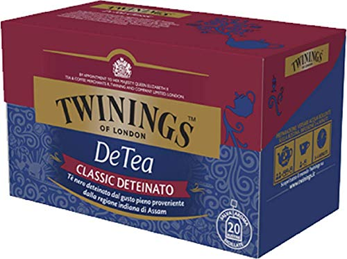 Twinings Tè Deteinati - DeTea Classic - Tè Nero Sapore Corposo Privo di Teina - Provenienti dalla Regione Indiana di Assam - Da Gustare al Naturale, con Latte o una Punta di Limone (20 Bustine)
