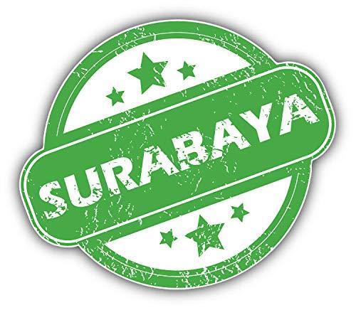 Surabaya Travel Stamp Vinyl Decal Sticker for Laptop Window Car Bumper Motorcycle Helmet Water Bottle Luggage Case 10 inch in Width