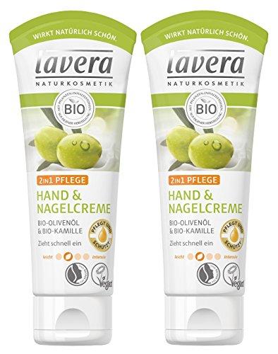 Lavera Hand & Nail Crema 2 in1 cura ∙ Bio Olio d' oliva & Bio Camomilla ∙ Crema Per Le Mani zieht veloce un ∙ Vegan ✔ Bio ✔ Natural & innovative Hand Care ✔cosmetico naturale Confezione da (2 X 75ml)