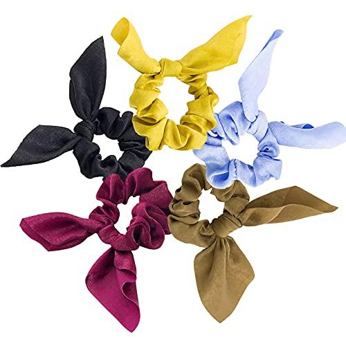 Tarister [5 pezzi] Elastici per capelli colorati elastici per capelli con rivestimento in tessuto per fissare i capelli, per donne, ragazze e bambini