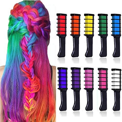 10 colori Capelli gesso pettine, Kalolary capelli temporanea gesso colore set, Glitter Temporary Hair Chalk per capelli per ragazza, non tossico e ideale per costumi, carnevale, feste, festival