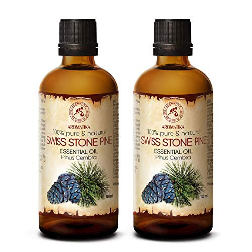 Olio Essenziale di Pino Svizzero 200ml - Pinus Cembra - Svizzera - 100% Puro & Naturale - Ideale per la Bellezza - Salute - Capelli - Viso - Corpo - Pino Cembro - Swiss Stone Pine Oil