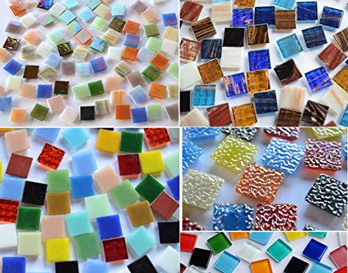 Bazare Masud e.K. 500Pezzi di Vetro per Mosaico, Pietre Multicolore, provenienti da 5Diversi Articoli, 15x 15mm, Circa 760g, Ideale Come Regalo di Natale