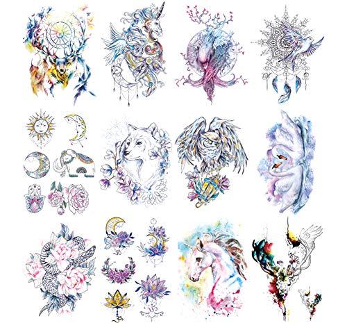 Oottati 12 Fogli Tatuaggi Temporanei Tattoo Fiabe Animali 21X15 cm Unicorno Rosa Cigno Uccello Cervo Elfo Lupo Gufo Aquila Elefante Luna Totem Solare Braccio Fiori
