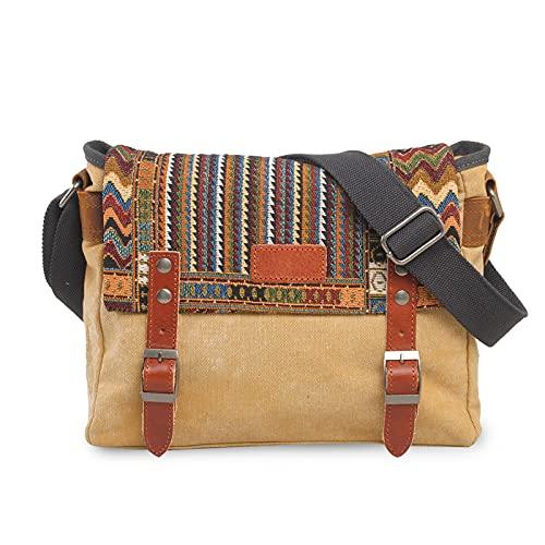 FANDARE Retro Borsa a tracolla Uomo/Donna Business Commuter Crossbody Bag Outdoor Travel Camping Grande Capacità Messenger Bag Traspirante Tela Cachi