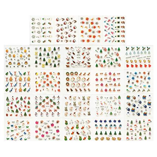 Minkissy 24 adesivi natalizi per unghie di Natale varietà di decorazioni natalizie decalcomanie per unghie stili misti multi-color appliques per la festa di natale