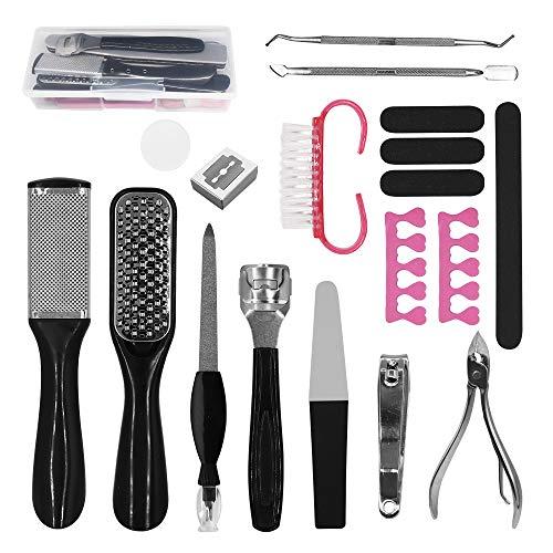 Kit per pedicure,18 in 1 kit di strumenti per pedicure professionale,Pedicure in acciaio inossidabile,la pelle morta Kit per la cura dei piedi per donne uomini salone o casa