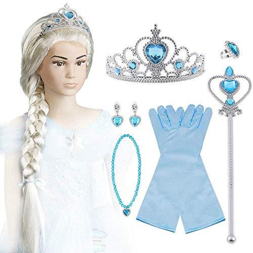 Vicloon Nuovi Costumi da Principessa Set di 9 PCS Dono - Parrucca,Diadema,Guanti,Bacchetta Magica,Orecchini,Anello da 3 a 10 Anni …