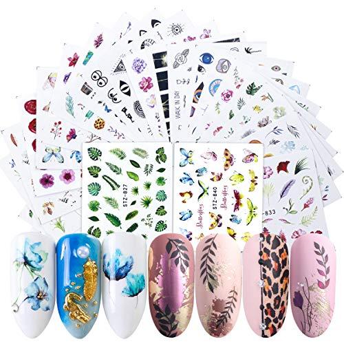 Dokpav Adesivi Unghie Decalcomania Trasferimento ad Acqua 3D Nail Stickers Water Decals Nails Fai da Te Arte Unghie Autoadesivi Nail Art Colore Misto Adesivi Floreali (68 Fogli)