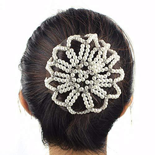 Lurrose Elastico Capelli Snood Net in Perle Coprispalle per Capelli all'uncinetto con Strass (bianco)