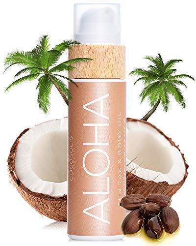 COCOSOLIS Aloha – Super Abbronzante con Vitamina E, Olio Corpo Abbronzante – Crema solare Bio Oil per un'Abbronzatura Cioccolato – Sei oli naturali per una Pelle Sana e Radiosa - 110 ml
