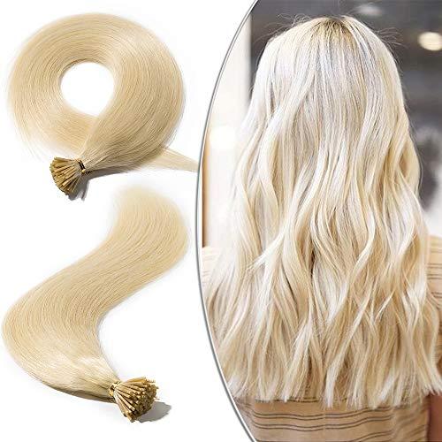 Elailite Extension Capelli Veri con Cheratina 100 Ciocche I Tip Biondi 45cm #60 Biondo Platino - 100% Remy Human Hair Keratina Capelli Umani Lisci 50g