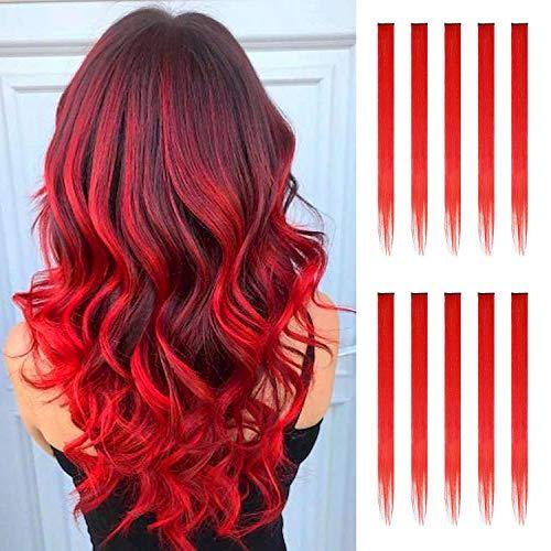 FESHFEN Extension Capelli Colorati Clip, 10 Pezzi Rosso Extension Colorati Capelli Ciocche Colorate per Capelli Extension Colored Clip in Hair Extensions Cosplay Party, 50cm