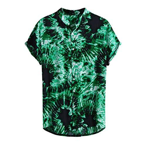 Xmiral Camicie per Uomo Manica Corta Hawaiana Regular Fit Floreale Multi Color Petto Petto Petto Manica Corta Tondo Camicetta Allentata Camicetta (3XL,5- Verde)