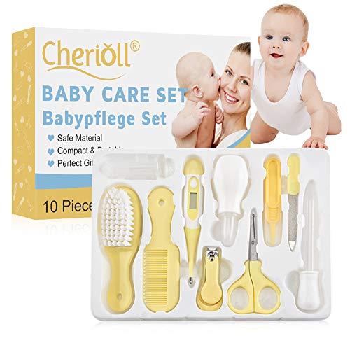 Baby Healthcare Kit, Baby Nail Care Set per Neonato, Baby Grooming Kit Beauty Set 10 Pezzi con termometro e Borsa, Facile da Usare|Ottima Idea Regalo per Nascita o Battesimo