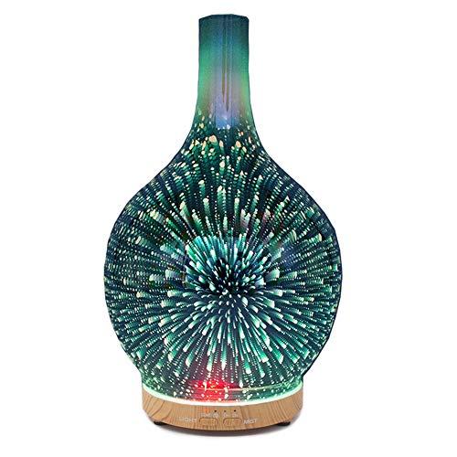 YunNasi Diffusore di Oli Essenziali Umidificatore Ambiente in Vetro con Nebbia Fredda con 7 Colori Luci LED Aromaterapia Diffusore di Aromi Senz'acqua Auto Off per Yoga Meditazione Camera