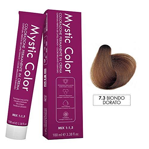 Mystic Color - Colore Biondo Dorato 7.3 - Tinta per Capelli - Colorazione Professionale in Crema a Lunga Durata - Con Cheratina Idrolizzata, Olio di Argan e Calendula - 100 ml