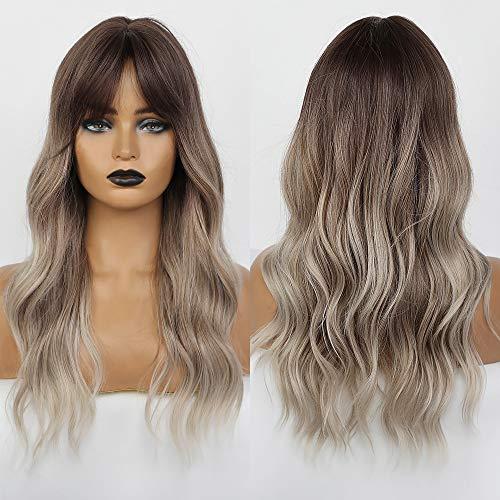 HAIRCUBE Ombre Parrucca grigio argento Taglio centrale Parrucche lunghe ricci da donna per donna Parrucche sintetiche dall'aspetto naturale