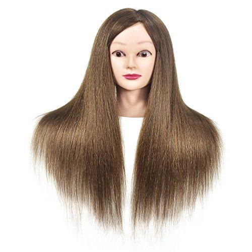 Testa di manichino con capelli umani al 100%, professionale, da parrucchiere, testina per fare pratica con le acconciature, con morsa da tavolo