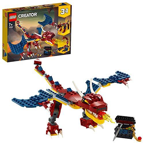 LEGO Creator 3in1 Drago del Fuoco - Tigre dai Denti a Sciabola - Scorpione, Set da Costruzione, Giocattolo Ispirato a Creature Reali e Mitiche, 31102