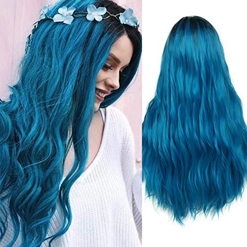 Parrucca blu da donna Ombre Capelli lunghi Ricci Parrucche ondulate Parrucche per capelli con radici scure Parrucche sintetiche per capelli per donne Cosplay Halloween