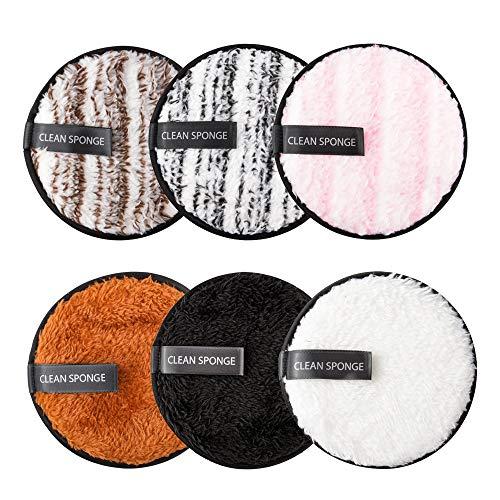 Qoosea 6 pezzi Dischetti Struccanti Lavabili, Tamponi Detergenti Cotone lavabile Riutilizzabili Dischetti Struccanti Cuscinetti in Microfibra Super Morbide, per la Pulizia Tutti i Tipi di Pelle