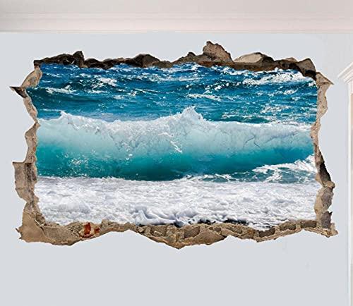 Adesivo murale aspetto 3D tatuaggi 60×90cm SPIAGGIA ONDA MARE OCEANO BLU 3D AUTOADESIVO DELLA PARETE IN ROTTURA STANZA D'ARTE DECORAZIONE DECALCOMANIA MURALE