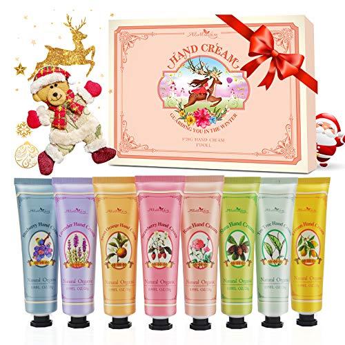 Set regalo per crema per le mani, 8pz Travel Size Crema mani con burro di karité, aloe naturale, vitamina E, idratante per mani e piedi asciutti, miglior regalo per donna, Con la bambola dell'orso