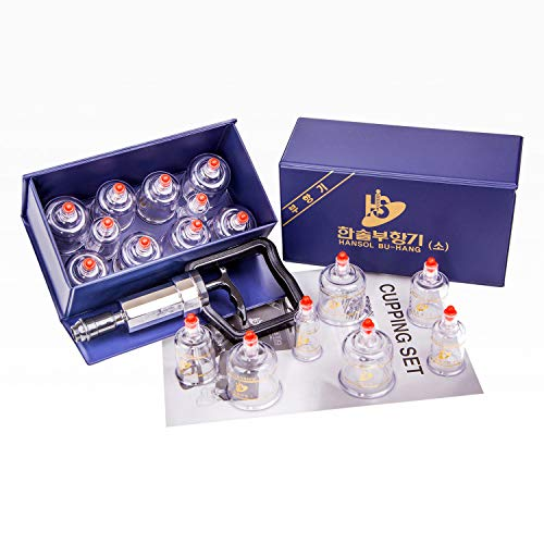 Hansol Professional Cupping Therapy Equipment Set with pumping handle 10 Cups & English Manual (Made in Korea) by Hansol Medical Equipment